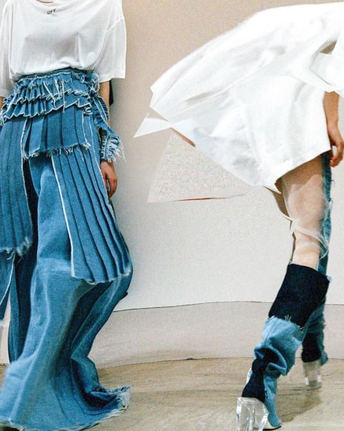 Denim_tiered layers of destroyed pleated denim   Saved by Gabby Fincham
