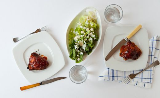 Epicure's Buffalo Chicken Thighs with Celery and Blue Cheese Salad