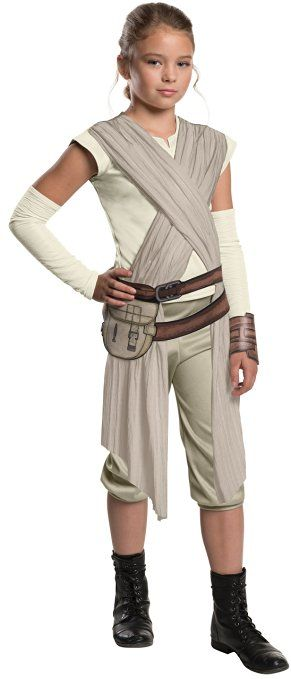 Star Wars: The Force Awakens Child's Deluxe Rey Costume, Large Star Wars continues the tradition of strong female characters with this Deluxe hero fighter Rey costume: jumpsuit costume with attached sash, detached sleeves, cuff, and belt with pouch