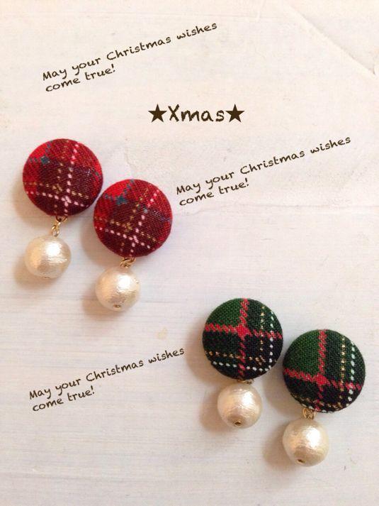 クリスマスカラーゆらゆらくるみボタンイヤリング by inakasan アクセサリー イヤリング | ハンドメイド、手作り作品の通販・販売サイト minne(ミンネ)