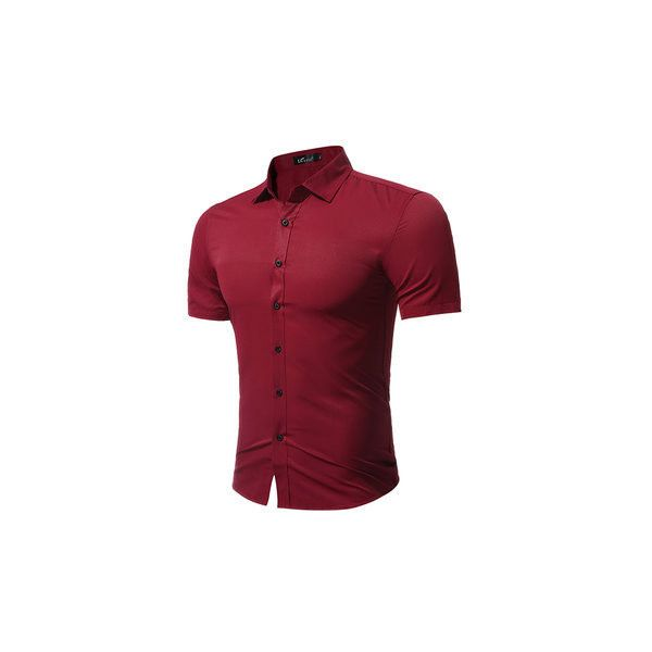 Plus Size Fashion Casual Solid Color Simple Style Short Sleeve Dress... ($19) ❤ liked on Polyvore featuring men's fashion, men's clothing, men's shirts, men's casual shirts, men shirts, wine red, mens red shirt, mens summer shirts, mens long sleeve shirts and mens short sleeve shirts