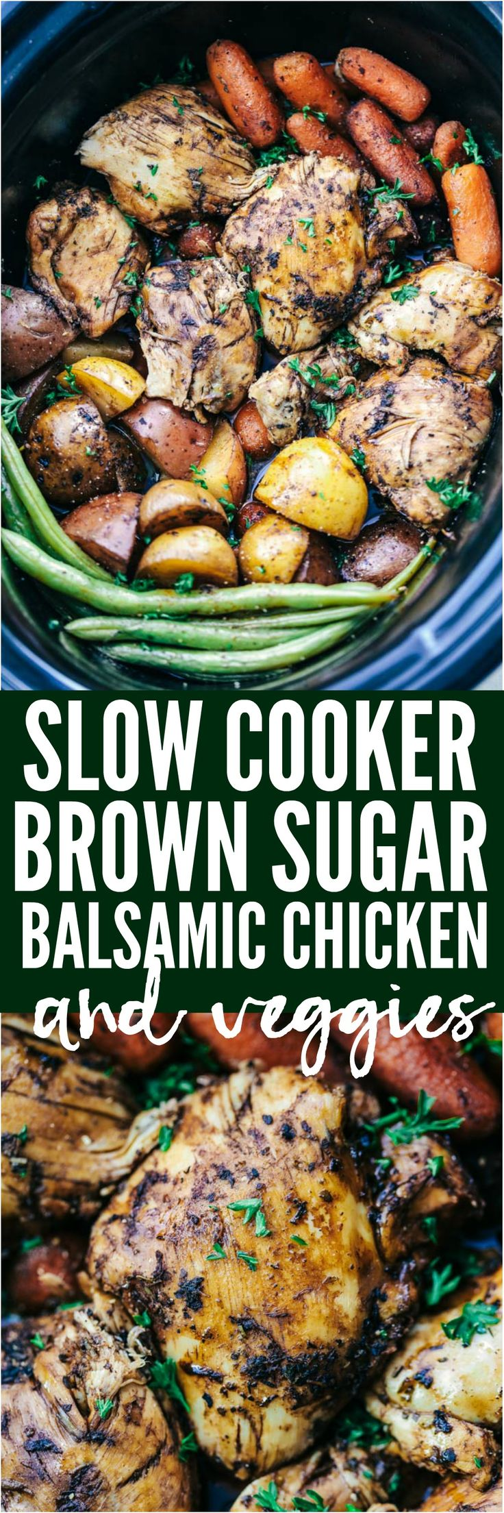 Slow Cooker Brown Sugar Balsamic Chicken and Vegetables is a fantastic meal with tender and juicy chicken with a delicious sweet and tangy balsamic sauce. This slow cooks to perfection with veggies making an awesome meal in one!