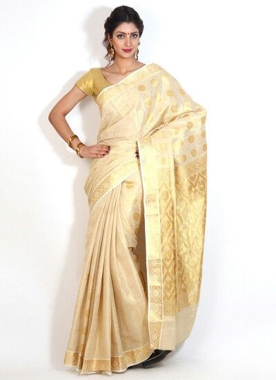White and gold sari