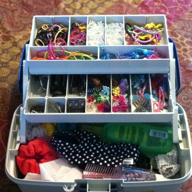 Matt's great idea-- fishing tackle box for all the little girl's hair accessories!!