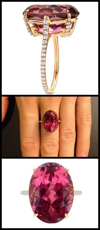 "Raspberry Tourmaline and Diamond Ring by @Tamir LLC.. A marvelous 15.03ct ""Raspberry"" Tourmaline showcased in a French rose gold ring and set with 0.44ct single cut diamonds."