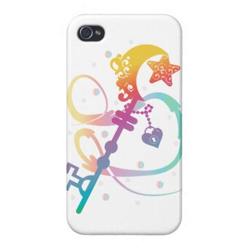 Cute Rainbow Silhouette Heart Moon Key With Locket Cases For iPhone 4