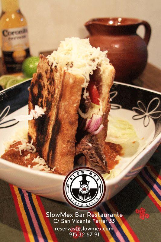 #Torta - Ternera al carbón con cebolla y cilantro - SlowMex Madrid