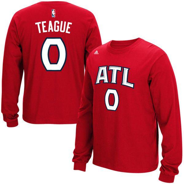 No. 0 Jeff Teague Atlanta Hawks adidas Long Sleeve Name & Number T-Shirt - Red - $15.99
