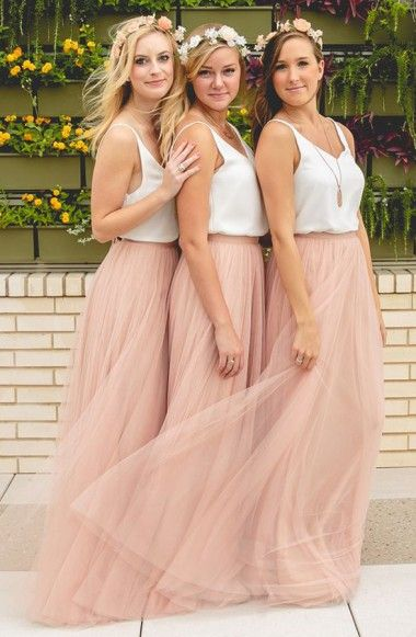 Simple V-Neck Sleeveless Tulle Ruched Floor-Length A-Line Bridesmaid Dress