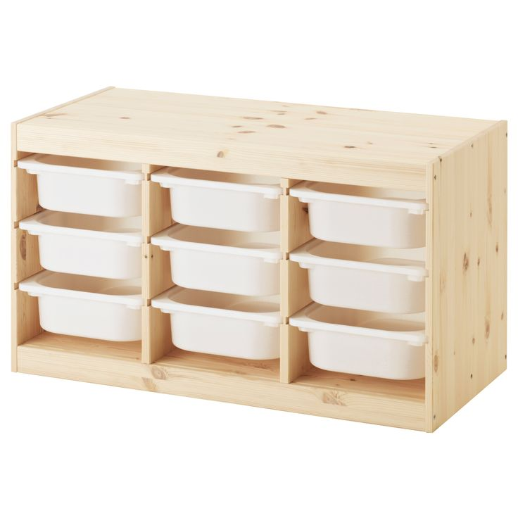 IKEA - TROFAST, Storage combination with boxes, pine/white, , A playful and sturdy storage series for storing and organizing toys, sitting, playing, and relaxing.The frame has several grooves, so you can place boxes and shelves where you want them, and change them any time.Low storage makes it easier for children to reach and organize their things.