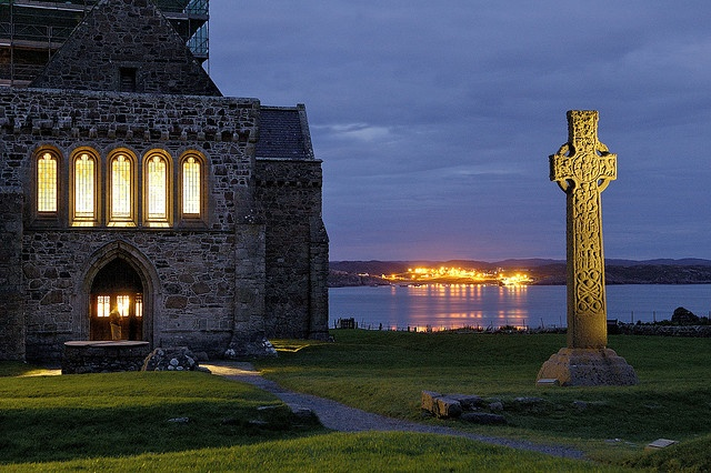 Iona, Scotland    IONA, SCOTLAND, UK -- Iona Monastery on the Isle of Iona, seat of Celtic Christianity in Scotland the Celtic Cross has stood outside the church for over 1,000 years.    Photo by J C Richardson.