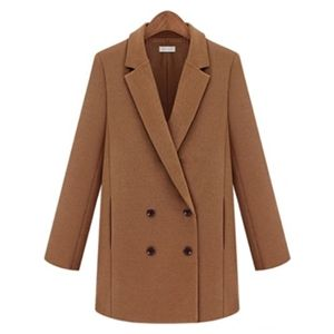 Camel Notch Lapel Long Sleeve Double Breasted Coat | pariscoming