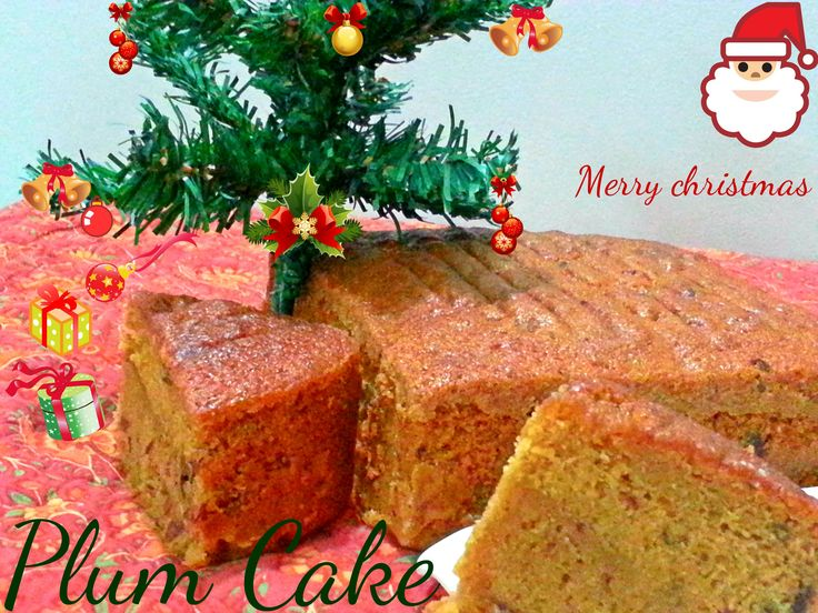 Plum cake enriched with rum soaked fruit n nuts eaten during christmas time.