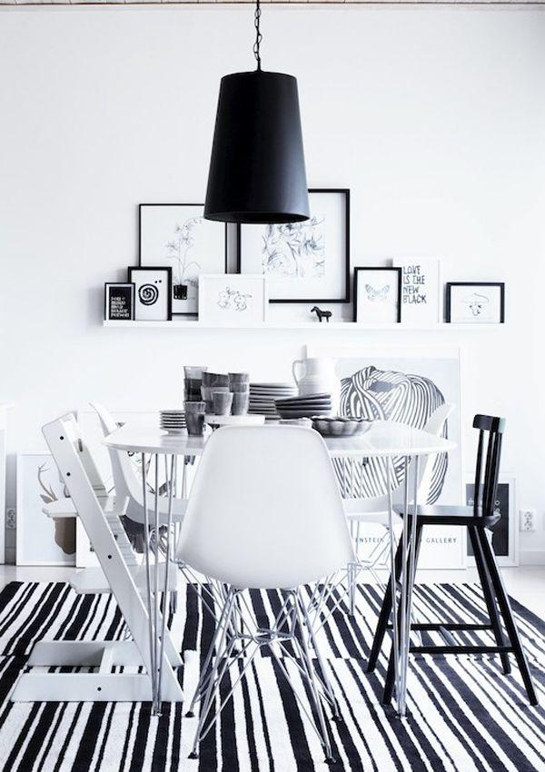 black + white dining