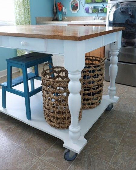 How to turn a table into a rolling island | Teal & Lime for remodelaholic.com