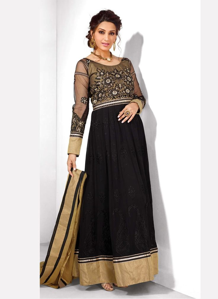 Add a young burst of shade for the wardrobe with this black georgette anarkali salwar suit. This wonderful attire is displaying some great embroidery done with embroidered, resham and zari work. Comes...