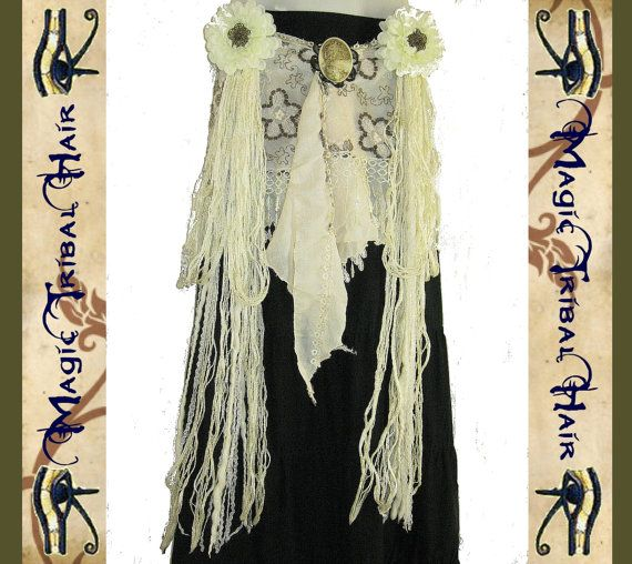 """BELLY DANCE COSTUME Tribal Fusion Combination """"Flora Deluxe"""" 2 x hip & hair tassel 1 x hip scarf Faery fae fantasy yarn falls Hair jewelry"""