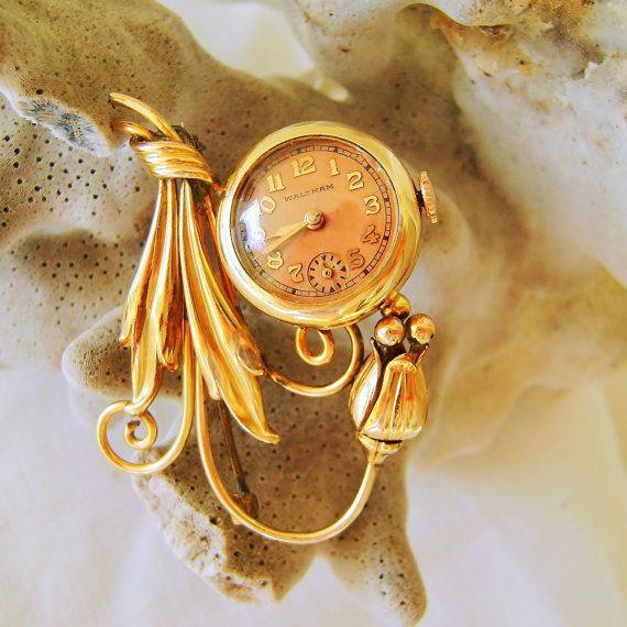 Vintage Waltham Art Deco Watch Brooch Pin 12K by SilverFoxAntiques, $185.00