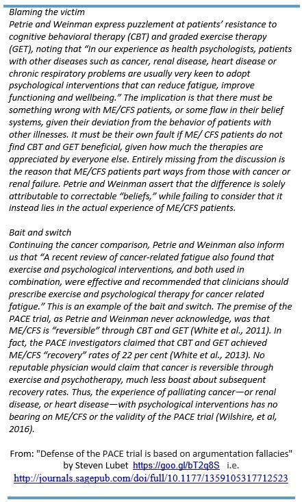 """From: """"Defense of the #PACEtrial is based on argumentation fallacies"""" http://journals.sagepub.com/doi/full/10.1177/1359105317712523 …"""
