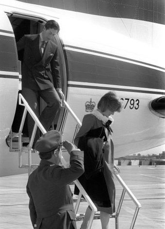 23 APril 1982  Diana and Charles land at Heathrow Airport after their brief stay on the Scilly Isles