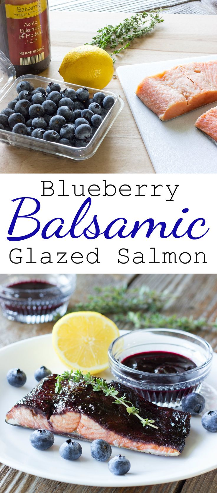 Salmon is glazed in a sticky, flavorful sauce made of blueberries, balsamic, sugar, thyme, and lemon.  #salmon #blueberry