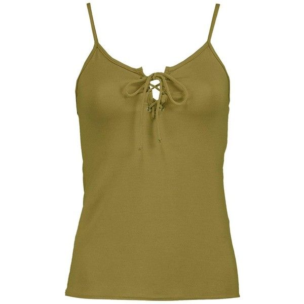 Boohoo Petite Amber Lace Up Cami Top ($8) ❤ liked on Polyvore featuring tops, petite tops, cotton cami, brown tank, petite tank tops and laced up top