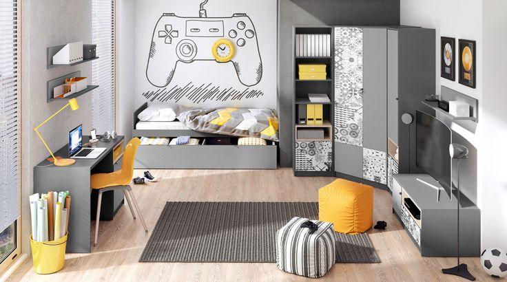 Energetyczne połączenie kolorów. / Energetic color combination #pok #kidsroom #girlsroom #meble #furniture #pokojdzieci #pokojdziewczynki #grey #szary #kidsinterior #new #nowosc #interiordesign #youth #mlodziezowe #meblemlodziezowe #wnetrzadladzieci #mebledzieciece #dignet #dignetlenart #lenartdesign