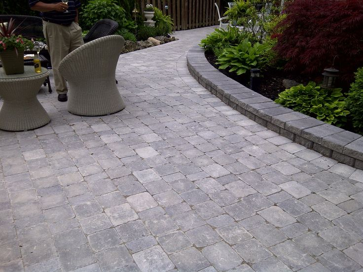 interlocking stone patio using brussels block unilock stone vf landscape ltd - Patio Stone Ideas With Pictures