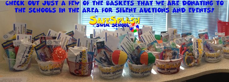Just a few of the donation baskets we are sending out to the schools in Douglas County Colorado. Includes a free month of swim lessons. We love supporting local schools!