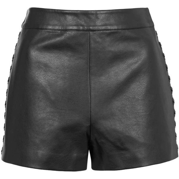 TOPSHOP PETITE PU Whipstitch Shorts ($70) ❤ liked on Polyvore featuring shorts, black, petite, black shorts, topshop, petite shorts and topshop shorts