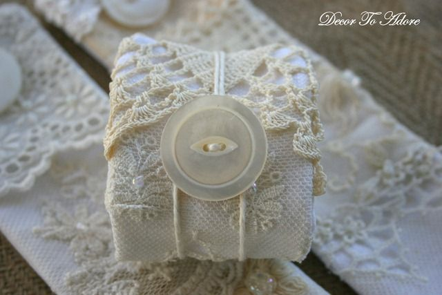 DIY Romantic Antique Lace Napkin Rings  TUTORIAL   Uses for worn out lace items!  GENIUS!