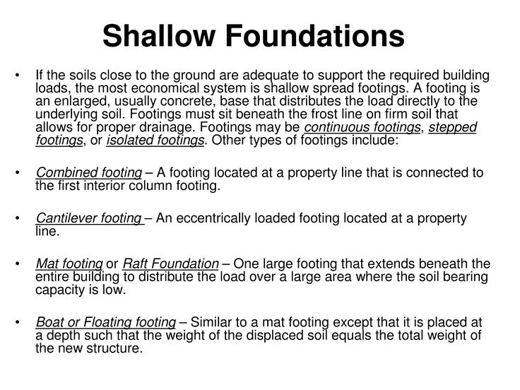 deep and shallow foundations The cost of an installed or constructed foundation element,  shallow vs deep),  different deep foundation types (eg, drilled piers vs driven.