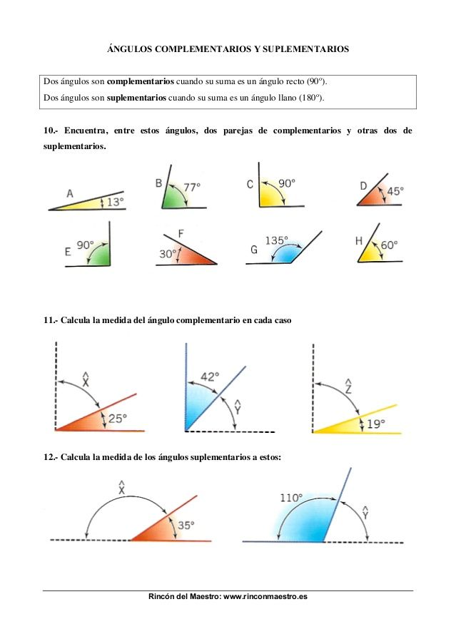 Practica De Angulos Complementarios Y Suplementarios Angulos Matematicas Ejercicios Matematicas Primaria Figuras Geometricas Para Armar