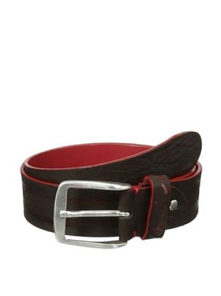 73% OFF Bolliver Men's Two Tone Crocodile Pattern Belt (Red/BROWN)