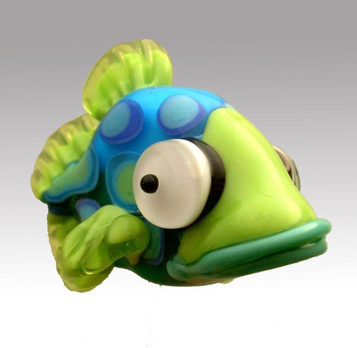 Bean the Large Spotted Shovelfish - lampwork bead by aardvarkartglass on Etsy