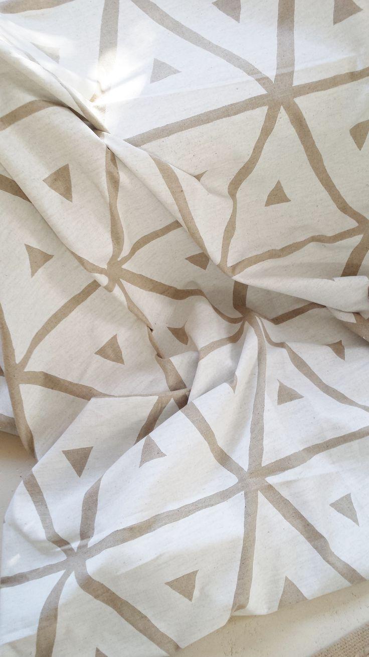Maradadhi Textiles Retro range white onto linen. Available to buy on line. Please email your order to maradadhi@gmail.com.