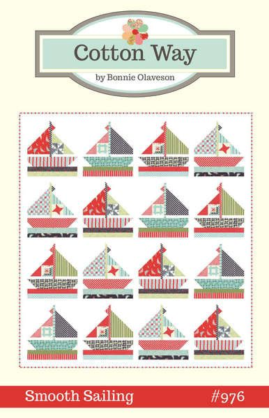 83in x 91in Pieced sailboats with mini quilts in the sails.