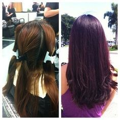 redken color fusion 3rv and 4v made this beautiful deep violet tone.