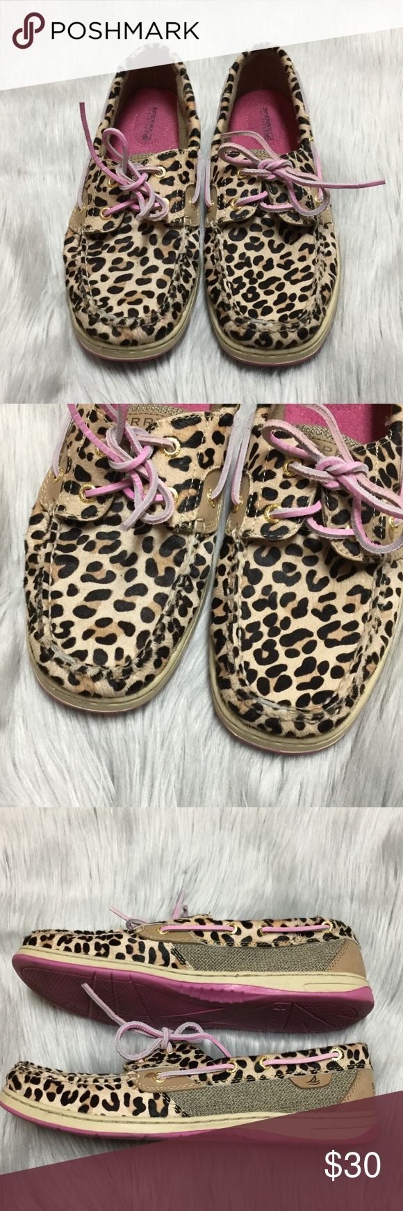 Leopard Sperrys's Leopard/cheetah print. Worn once. Pink laces and sole. Sperry Top-Sider Shoes Flats & Loafers