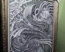 Lukisan Dragon Black and Grey