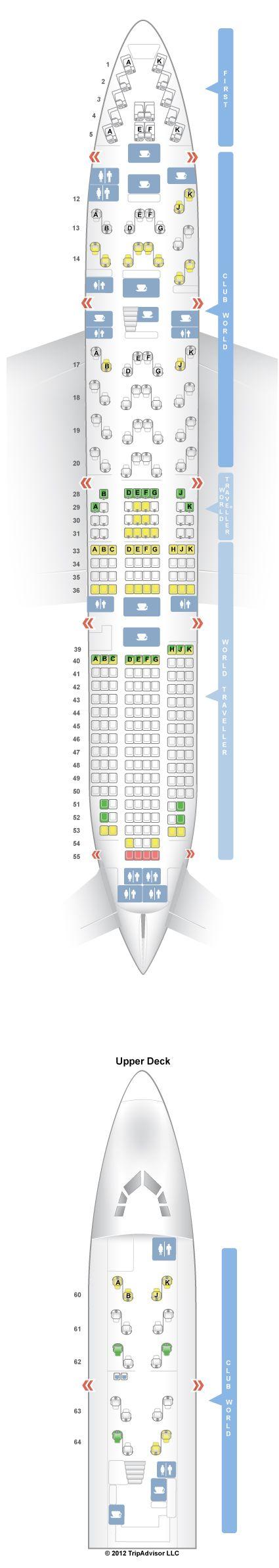Boeing 744 Seating Plan