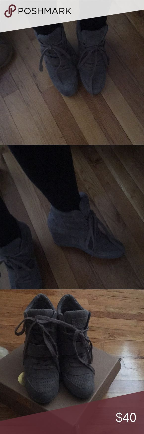"""Sneaker wedges Grey sneaker wedges . ASH sneaker wedges """"Bowie"""" . Used 4 times purchased from lord and Taylor about 3 years ago Ash Shoes Sneakers"""