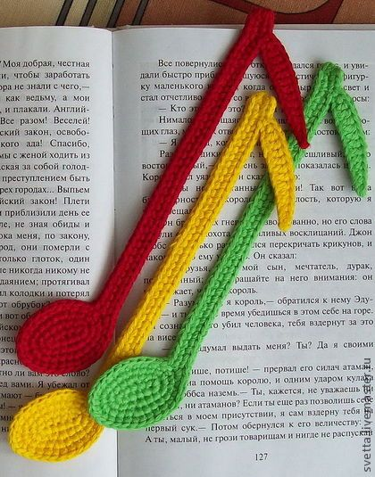 CROCHET - MUSIC NOTE / NOTE DE MUSIQUE / MUZIEKNOOT - Bookmark notes crochet pattern by Zabelina Amigurumi LittleOwlsHut Handmade