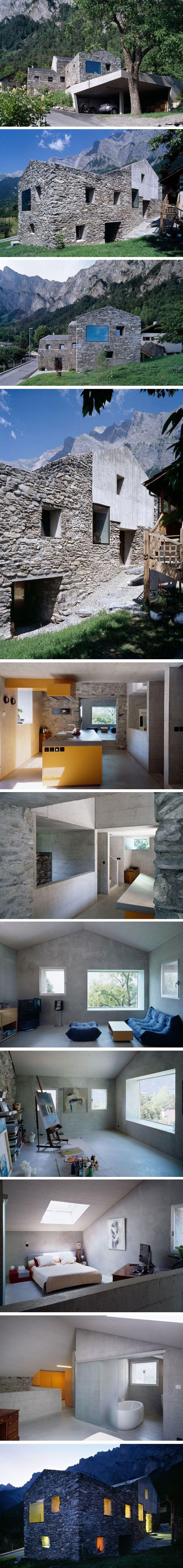 Rénovation à Chamoson par Savioz Fabrizzi Architecte; the house, the location and the studio. Not the garage.