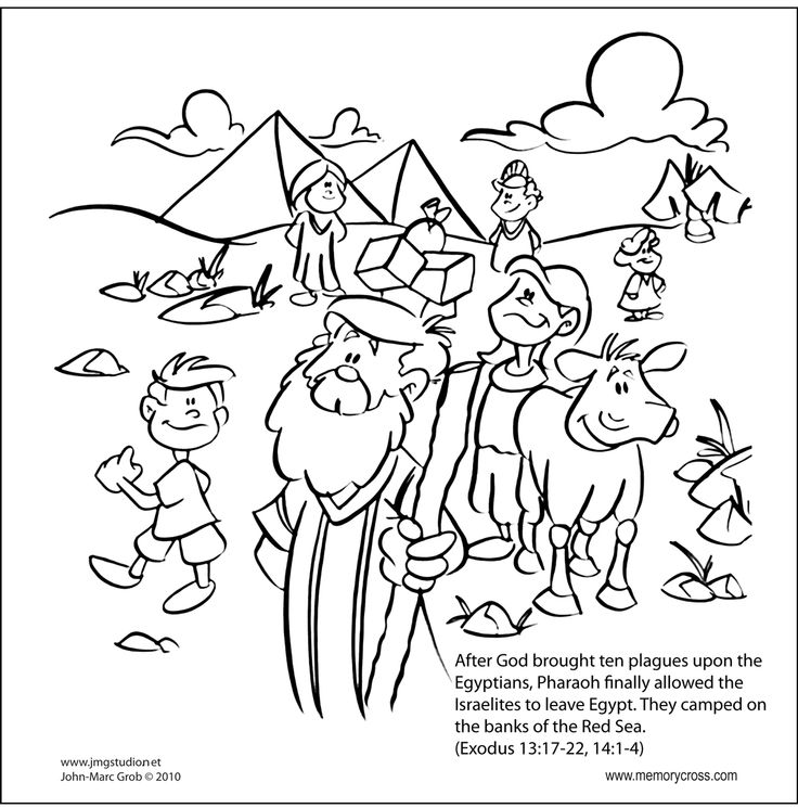 Moses Parting Red Sea Bible Story Coloring Card