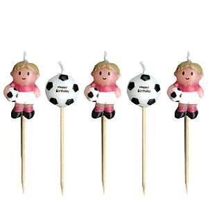 Fine fodbold lagkagelys til pyntning af lagkagen til din fodbold fødselsdag.