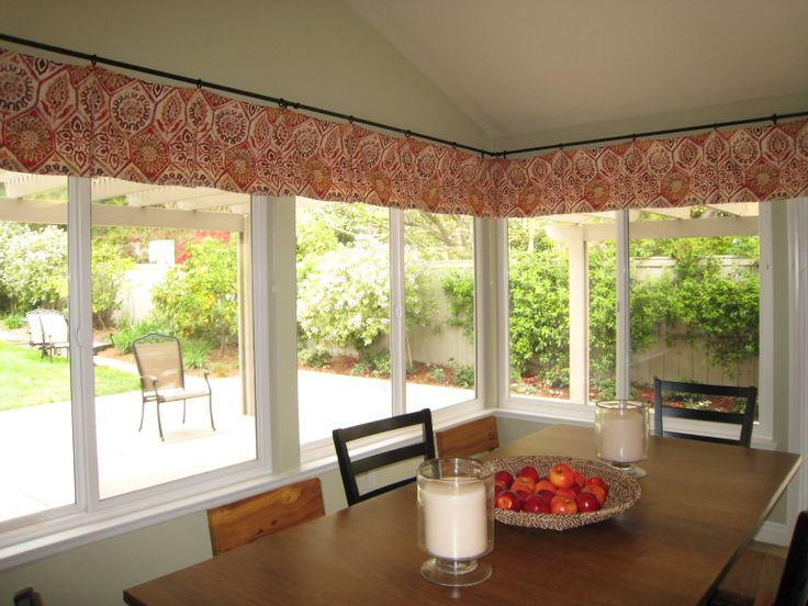 Bay Window Valance Treatments : Bay Window Treatments Valance With Timber Dining  Table