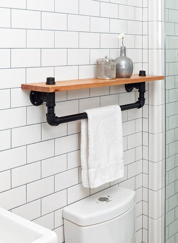 WE Design on Desire to InspireBathroom Shelving, Downstairs Bathroom, Bathroom Inspiration, Design Nyc, Industrial Design Bathroom, Bathroom Shelf, Bathroom Ideas, Bathroom Shelves, Diy Bathroom Towel Rack