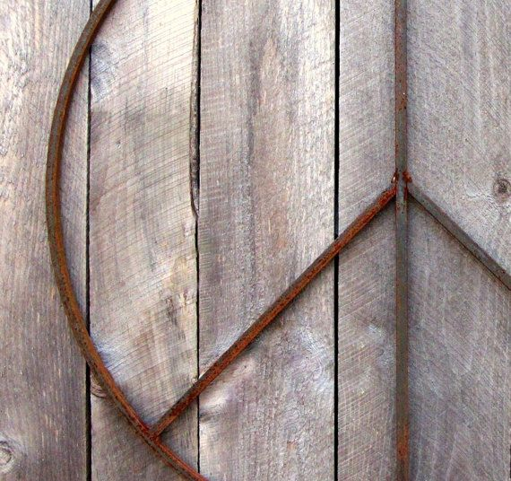 Large 22 inch Peace Sign Wall Hanging or Wreath by bluemetaldesign, $88.00