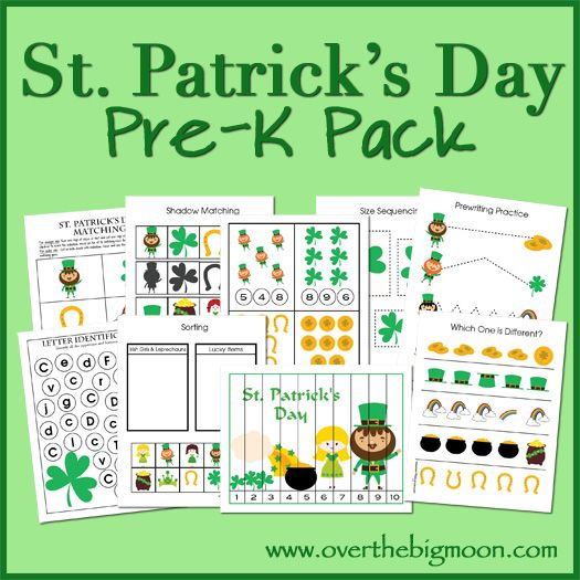 Included in this FREE Pre-K St. Patrick's Pack is:  	Prewriting Practice Sheets 	Cutting Practice 	Which one is different? 	Finish the Patt